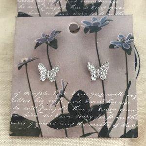 Anthropologie Gold & Silver Butterfly Earrings